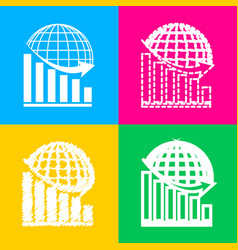 declining graph with earth four styles of icon on vector image vector image