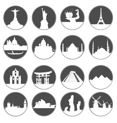 gray button famous places vector image vector image