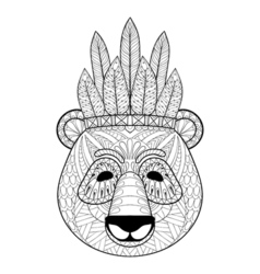 Panda with warbonnet in zentangle style Freehand vector image vector image