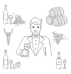 Young man tasting a glass of wine vector