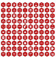 100 discussion icons hexagon red vector