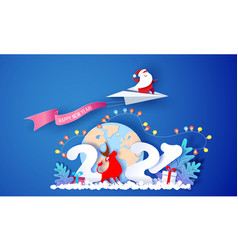 2021 new year card design santa claus and funny vector image