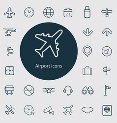 airport outline thin flat digital icon set vector image