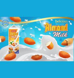 Almond milk advertising design with splashing vector