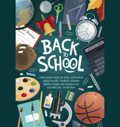Back to school card education student supplies vector