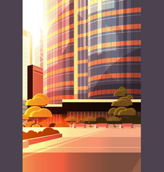 beautifil city street sunset skyline high vector image
