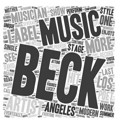 Beck A Modern Musician And Poet Returns To The vector image