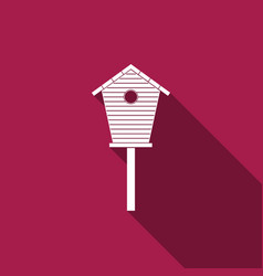 bird house icon isolated with long shadow vector image