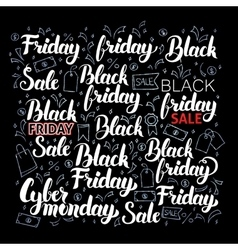 Black Friday Lettering Set vector image
