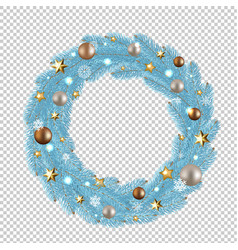 blue merry christmas wreath vector image