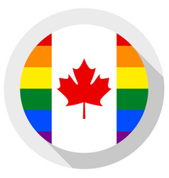 Canadian lgbt flag round shape icon on white vector