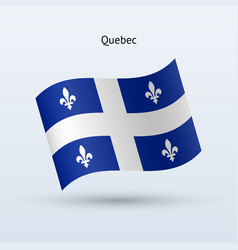 Canadian province of quebec flag waving form vector