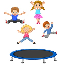 Cartoon little kid playing trampoline vector