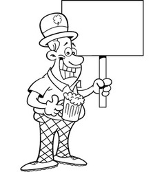 Cartoon Man Wearing a Derby and Holding a sign vector