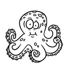 cartoon outline octopus vector image