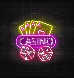 casino neon illuminated signboard vector image