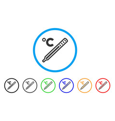 Celsius mercury thermometer rounded icon vector