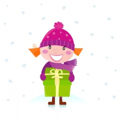 Christmas girl with present vector image