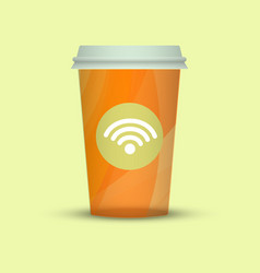 coffee cup creative coffee with wi-fi sign vector image