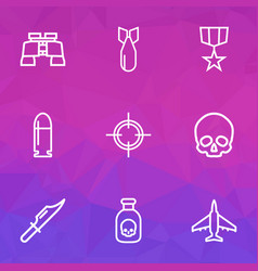 Combat outline icons set collection of zoom vector