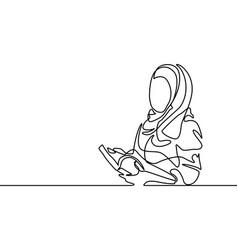 Continuous line drawing islamic woman with book vector