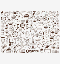 cooking food kitchen tools icons vector image