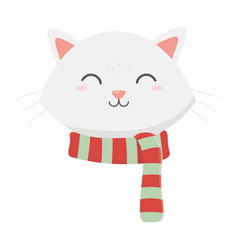 cute cat face with scarf celebration merry vector image