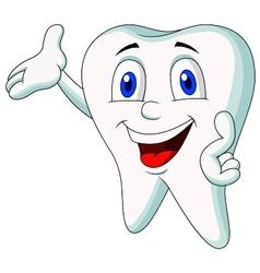 Cute tooth cartoon presenting vector image