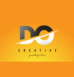 do d o letter modern logo design with yellow vector image