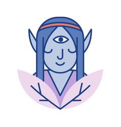 Elf line color icon vector