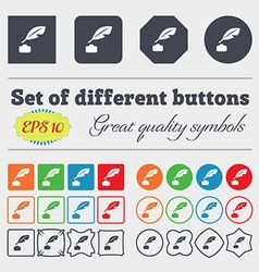 Feather Retro pen icon sign Big set of colorful vector