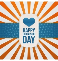 Friendship Day greeting Emblem with blue Ribbon vector