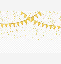 Golden flags with confetti background vector