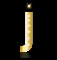 golden letter j shiny symbol vector image