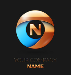 golden letter n logo symbol in golden-blue circle vector image