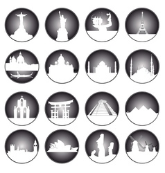gray button famous places in the world vector image