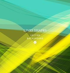 Green yellow floral tropical stripes waves lines vector
