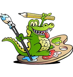hand-drawn an happy creative artist crocodile vector image
