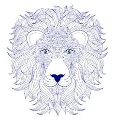 head of lion on white background vector image
