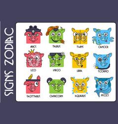 horoscope zodiac symbols vector image
