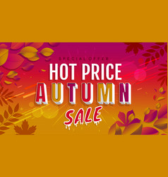 hot autumn sale banner trendy texture vector image