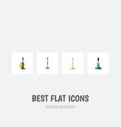 icon flat broomstick set of broom bucket vector image