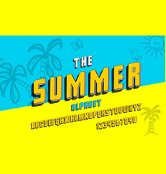 latin alphabet summer font in cute 3d style vector image