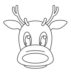 line art black and white reindeer head vector image