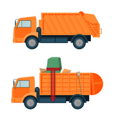 Long orange dumpster truck with empty and full vector