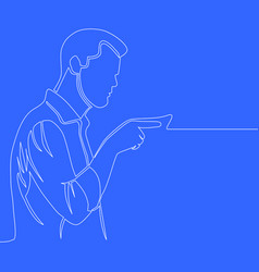 man showing direction single line drawing vector image