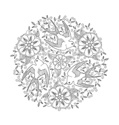 mandala with three beautiful flying birds and vector image