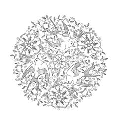 mandala with three beautiful flying birds vector image