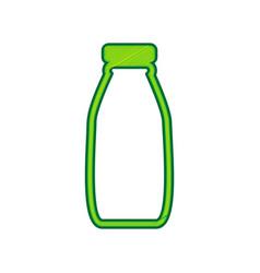 Milk bottle sign lemon scribble icon on vector