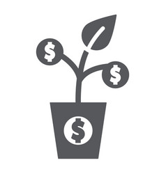 money tree glyph icon currency and growth vector image